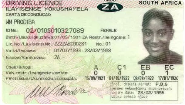 South Africa Driving Licence
